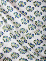 White Blue Green Hand Block Printed Cotton Cambric Fabric Per Meter - F0916408