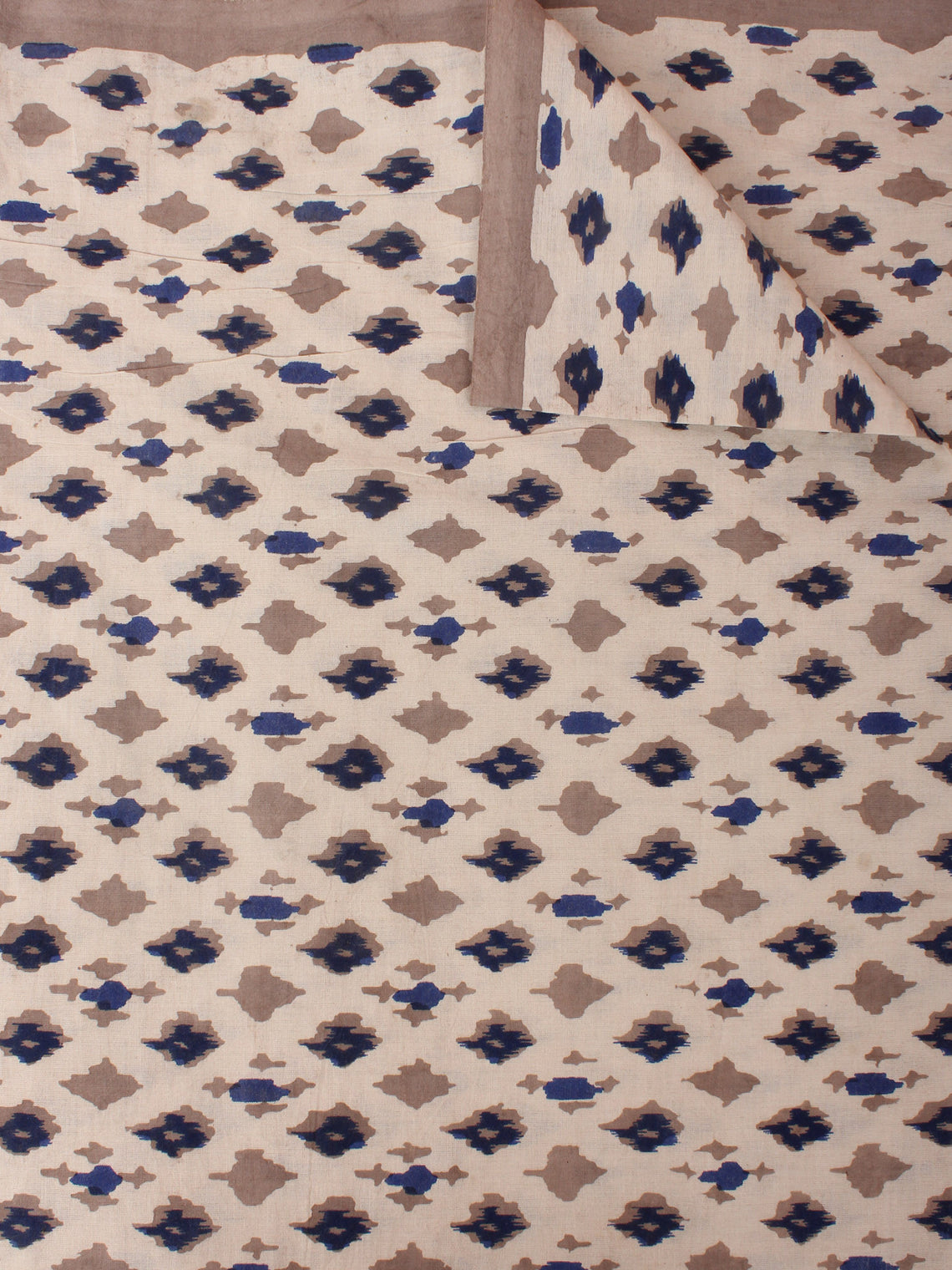Beige Brown Indigo Hand Block Printed Cotton Cambric Fabric Per Meter - F0916392