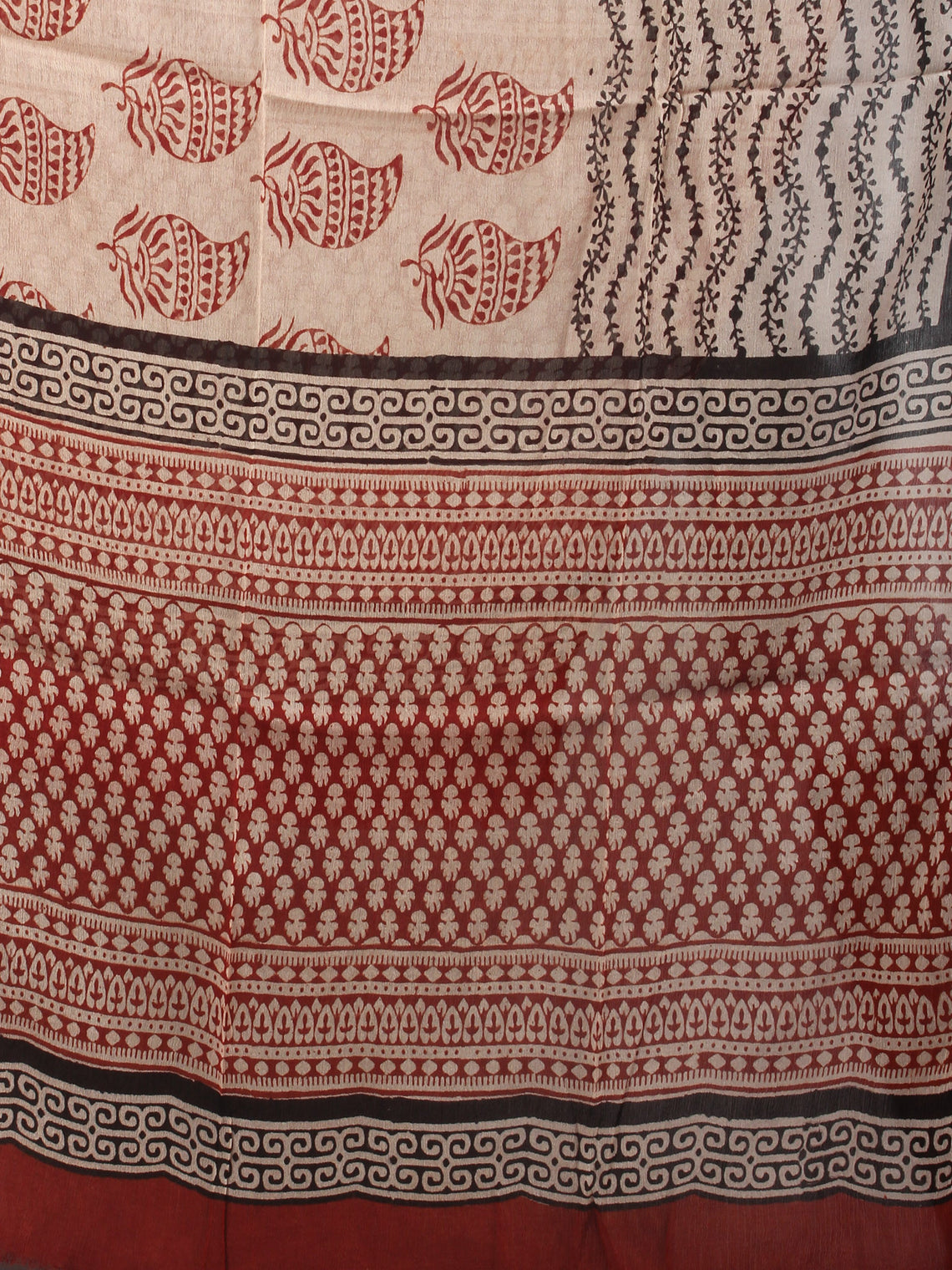 Red Beige Black Hand Block Printed Cotton Suit-Salwar Fabric With Chiffon Dupatta - S1628037