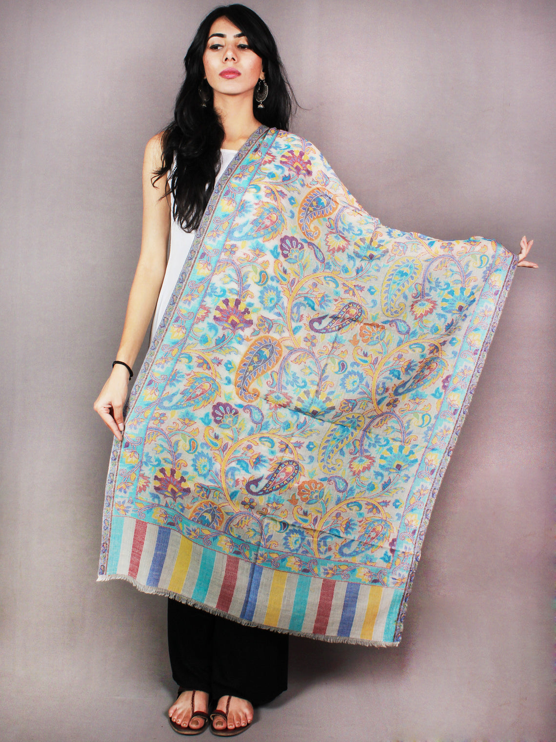 Ivory Sky Blue Yellow Kani Cutting Jamawar Pure Wool Cashmere Stole from Kashmir - S6317104