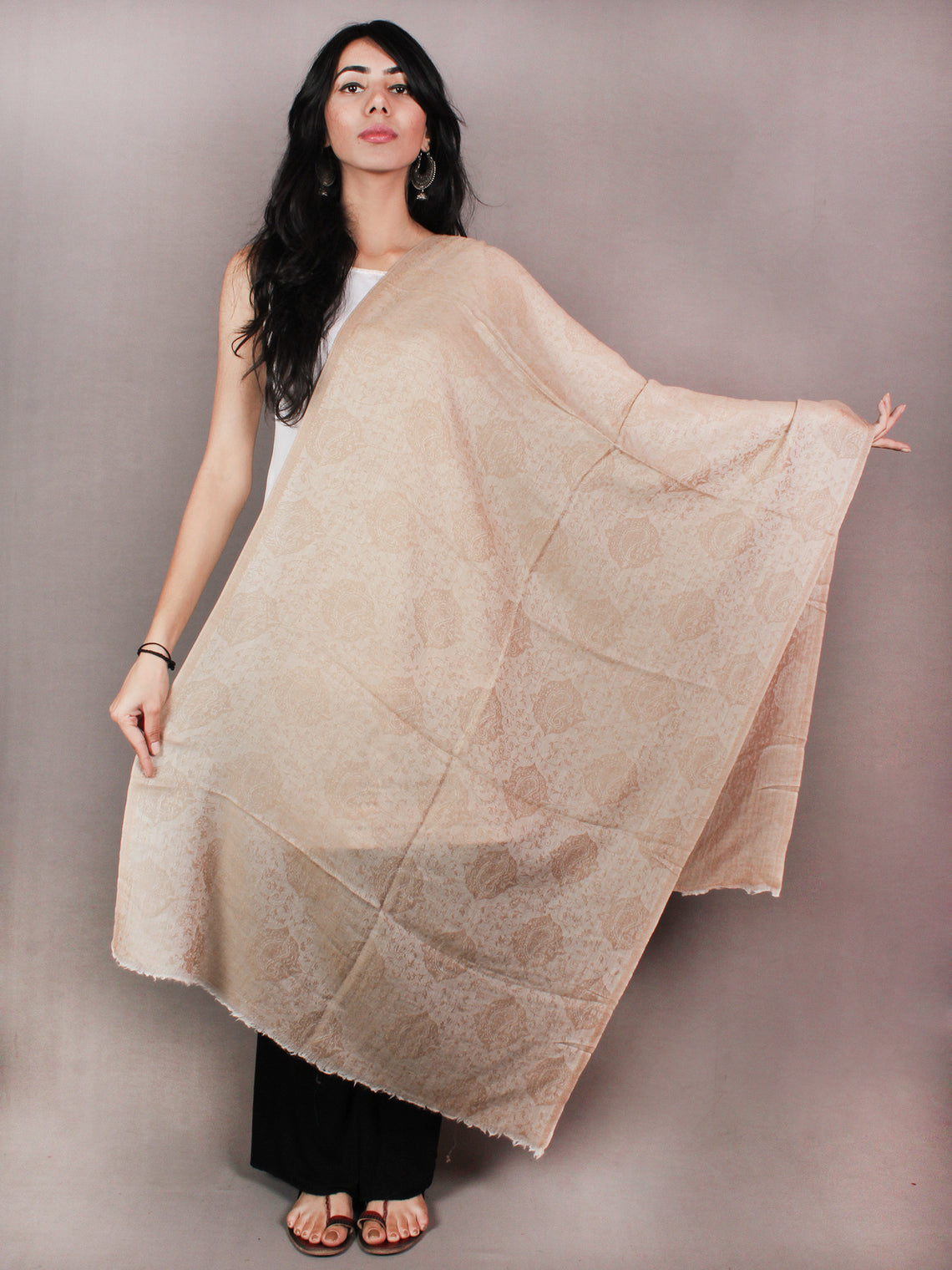 Sandy Brown Pure Wool Self Design Cashmere Stole from Kashmir - S6317105