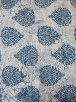 Indigo Ivory Hand Block Printed Cotton Cambric Fabric Per Meter - F0916389