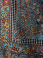 Multi Colour Kani Weaved Border Pure Wool Cashmere Stole from Kashmir - S6317107