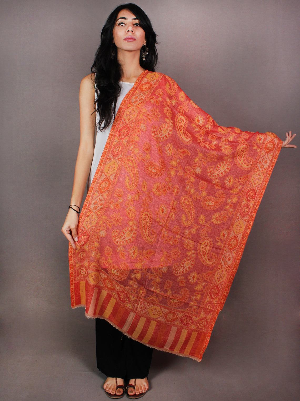 Orange Beige Jamawar Pure Wool Cashmere Stole from Kashmir - S6317108