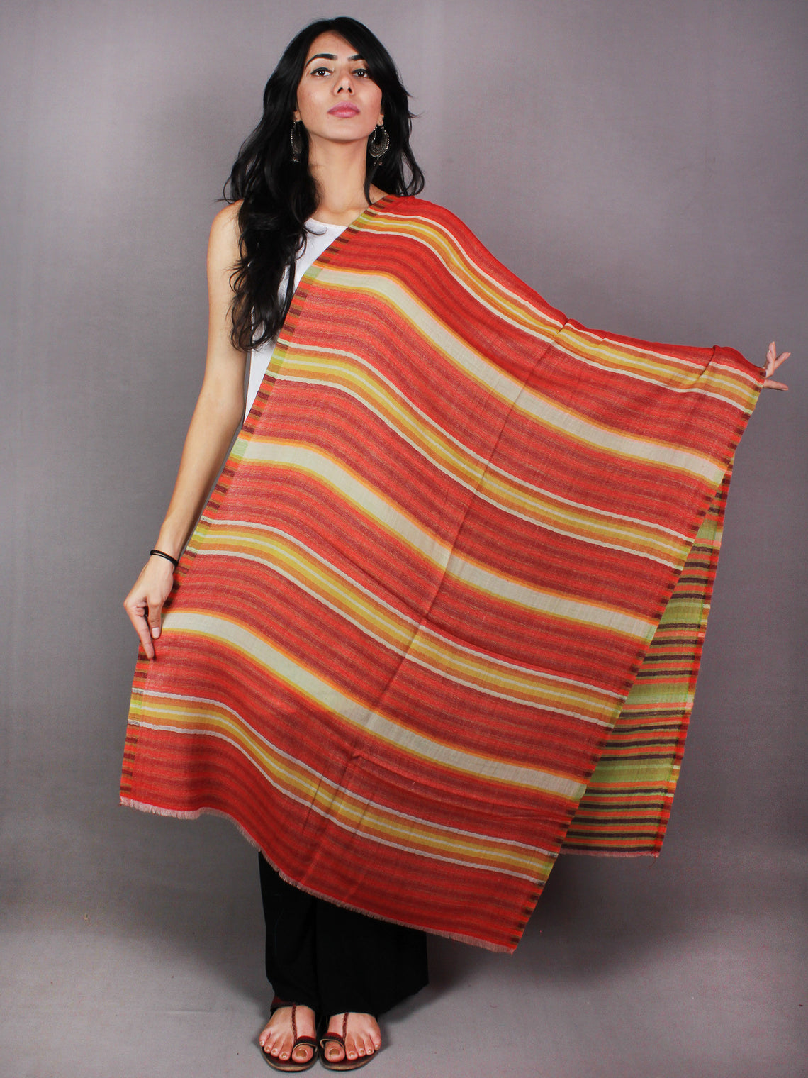 Red Yellow White Maroon Pure Wool Reversible Lining Weaved Cashmere Stole from Kashmir - S6317110