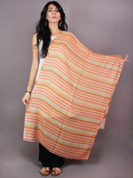 Yellow White Red Pure Wool Reversible Lining Weaved Cashmere Stole from Kashmir - S6317111