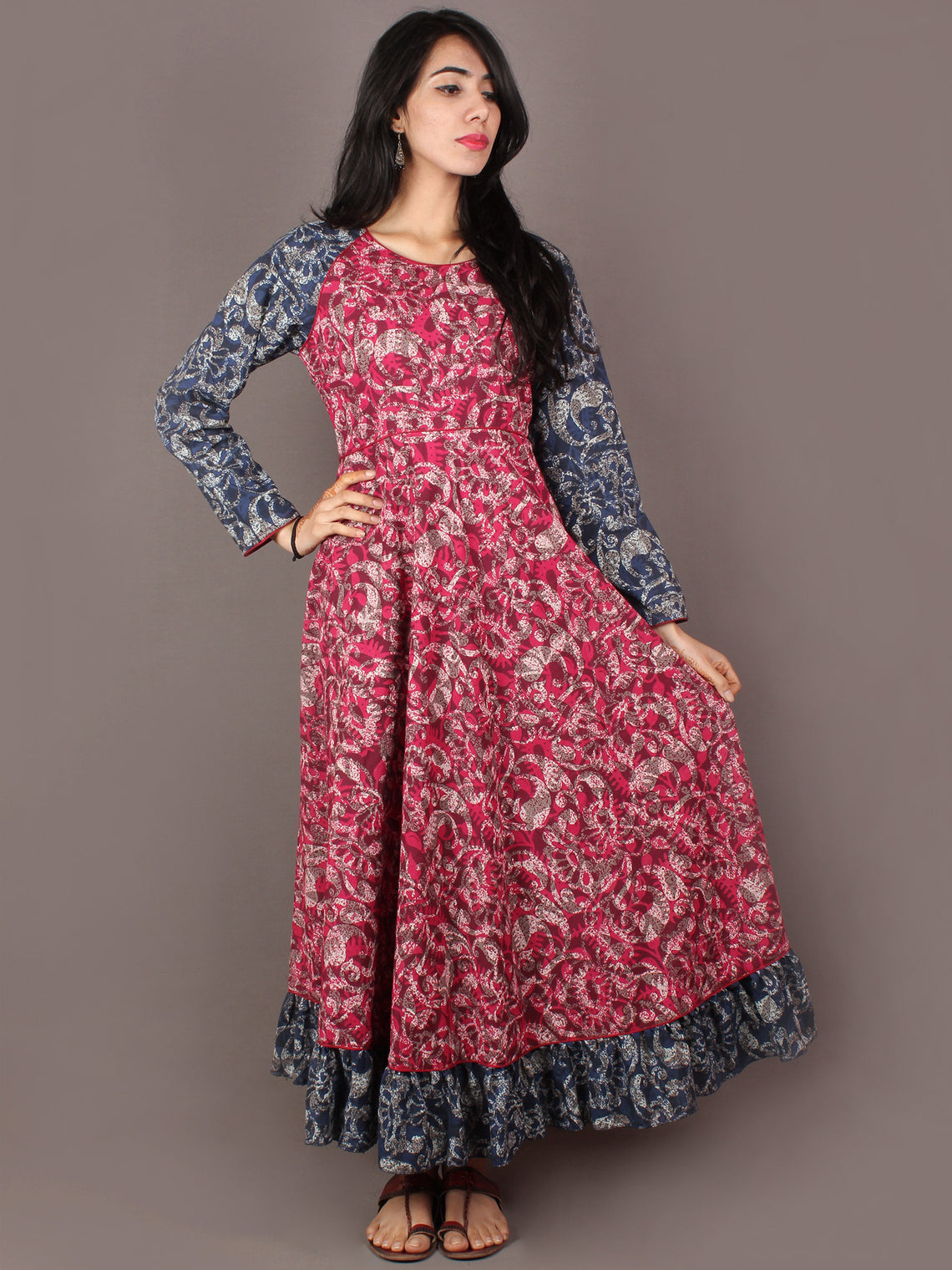 Pink Indigo Beige Ivory Hand Block Printed Long Cotton Dress With Gather - D0641308