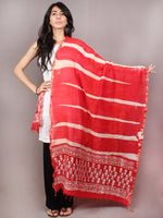 Red Beige Chanderi Hand Painted Dupatta - D0417098