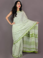 White Mint Green Cotton Hand Block Bagru Printed Saree - S03170337