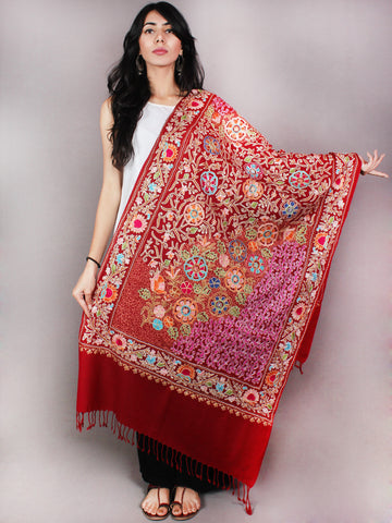 Maroon Multi Color Aari Embroidery Pure Wool Cashmere Stole from Kashmir - S6317076