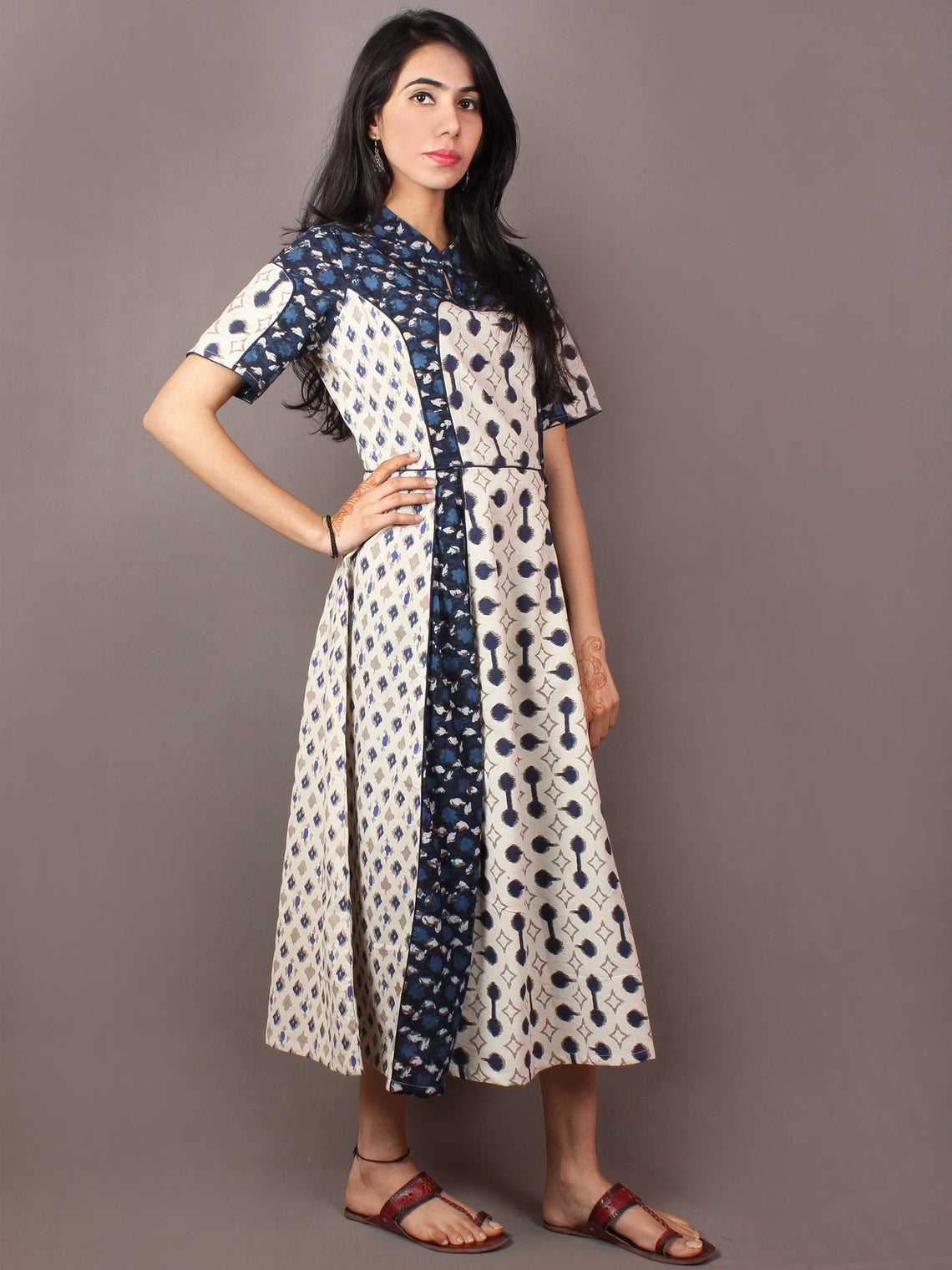 Beige Indigo Ivory Hand Block Printed Cotton Long Multi Panel Dress With Mandarin Collar & Piping All Over - D1539101