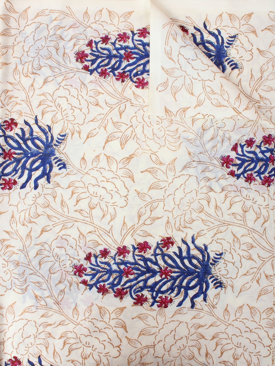 Ivory Brow Blue Red Hand Block Printed Cotton Cambric Fabric Per Meter - F0916407