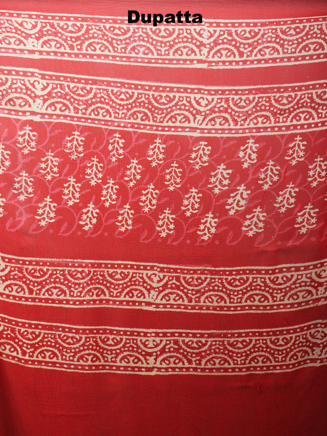 Red White Hand Block Printed Cotton Suit-Salwar Fabric With Chiffon Dupatta - S1628044