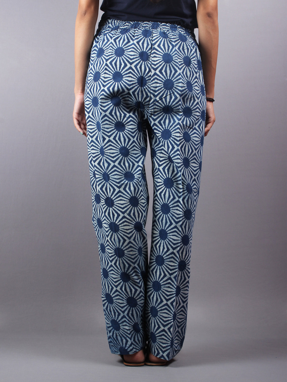 Indigo Hand Block Printed Elasticated Waist Trousers- T0317004