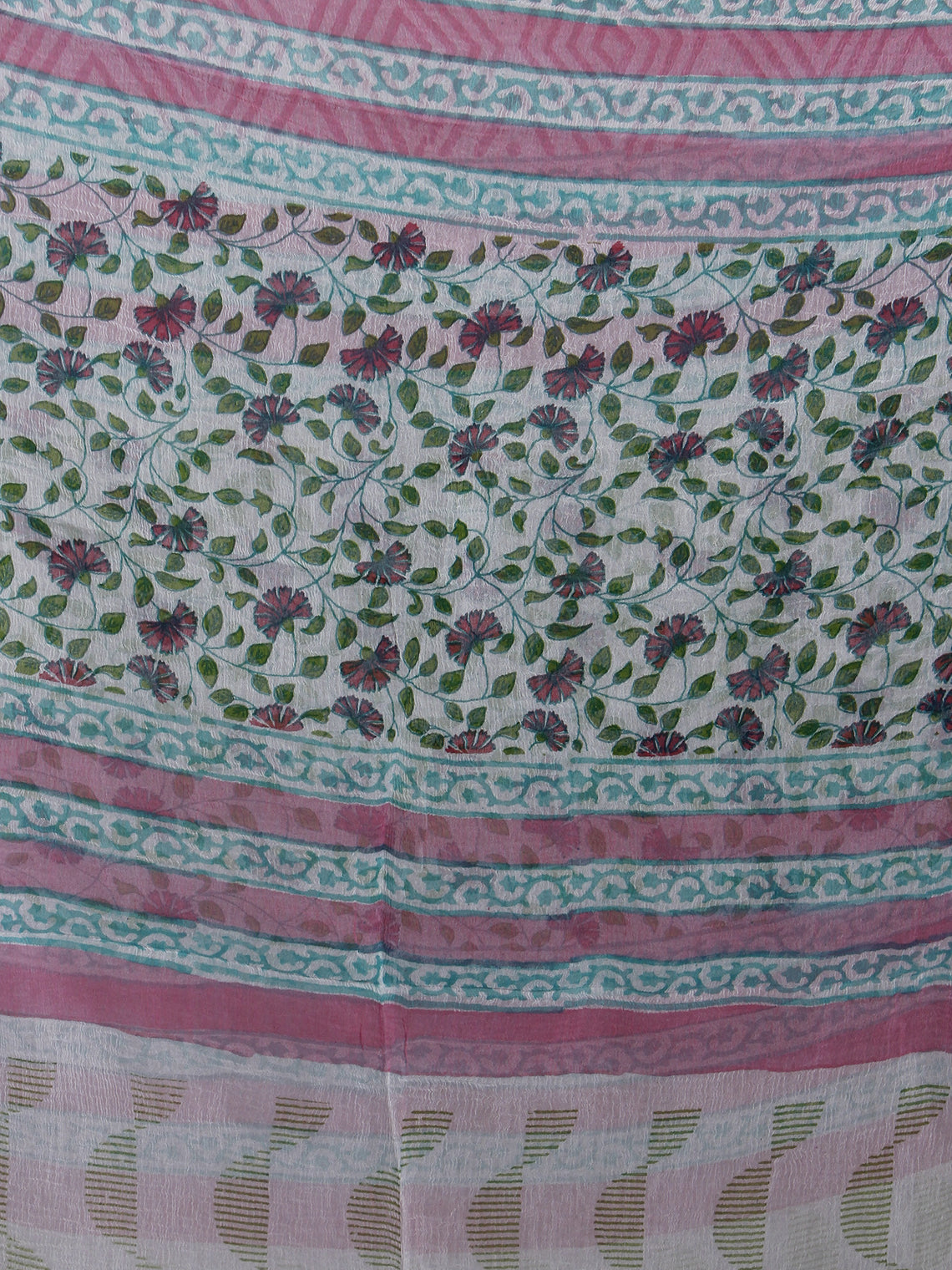Ivory Green Pink Purple Hand Block Printed Cotton Suit-Salwar Fabric With Chiffon Dupatta - S16281233
