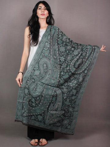 Black Grey Green Pure Wool Jamawar Cashmere Stole from Kashmir - S6317112