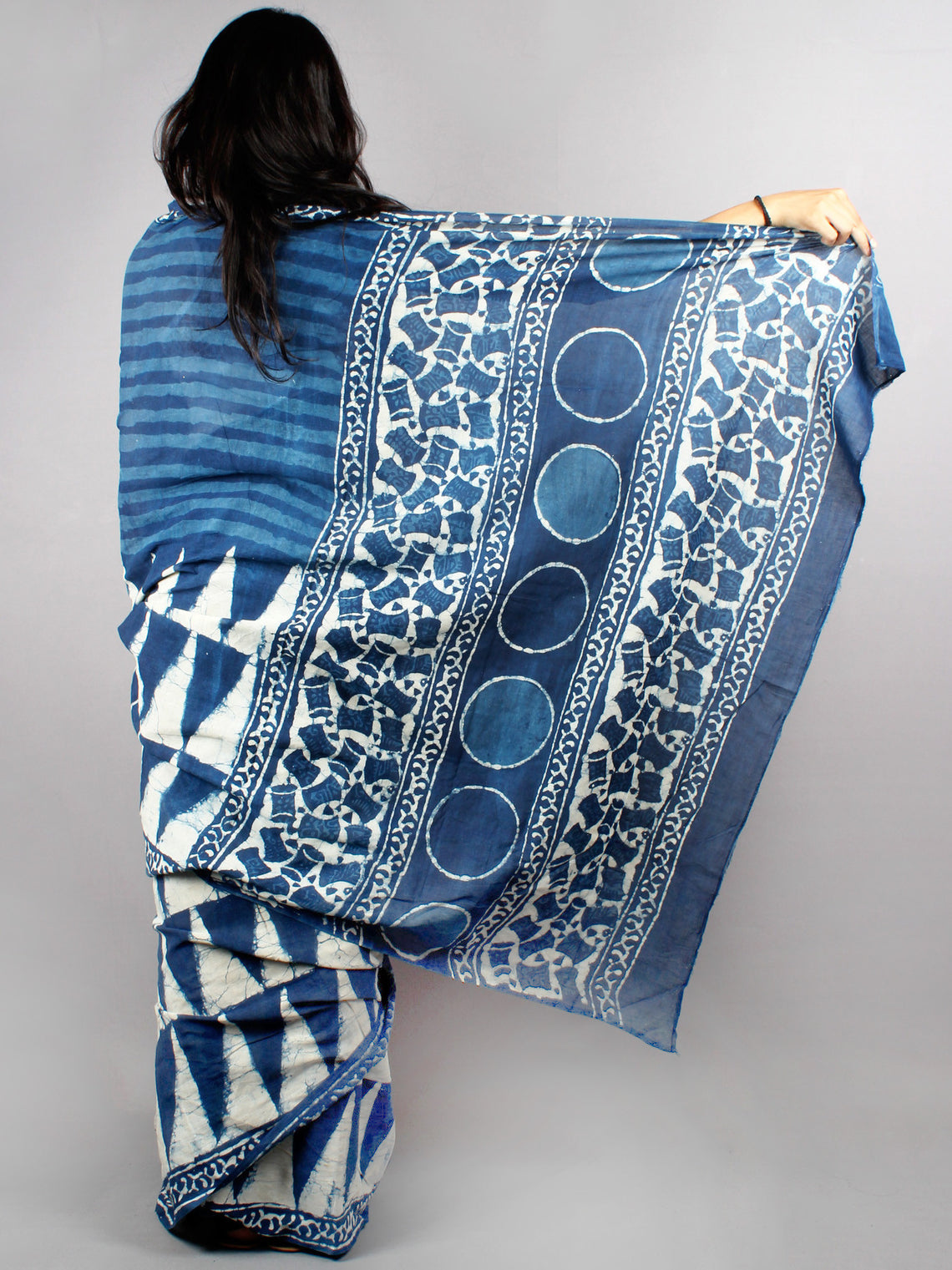 Indigo White Cotton Hand Block Printed Saree - S0317040