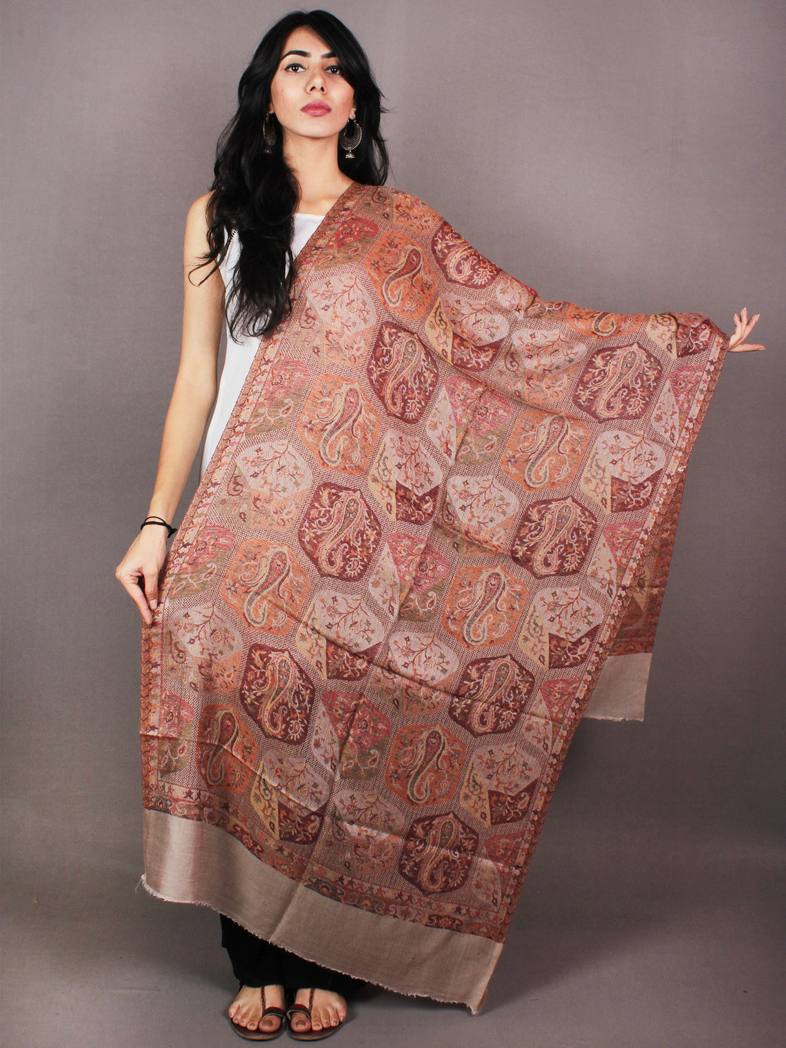 Ivory Orange Maroon Pure Wool Jamawar Cashmere Stole from Kashmir - S6317113