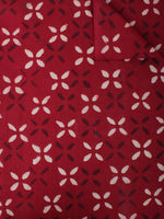 Maroon White Hand Block Printed Cotton Cambric Fabric Per Meter - F0916473