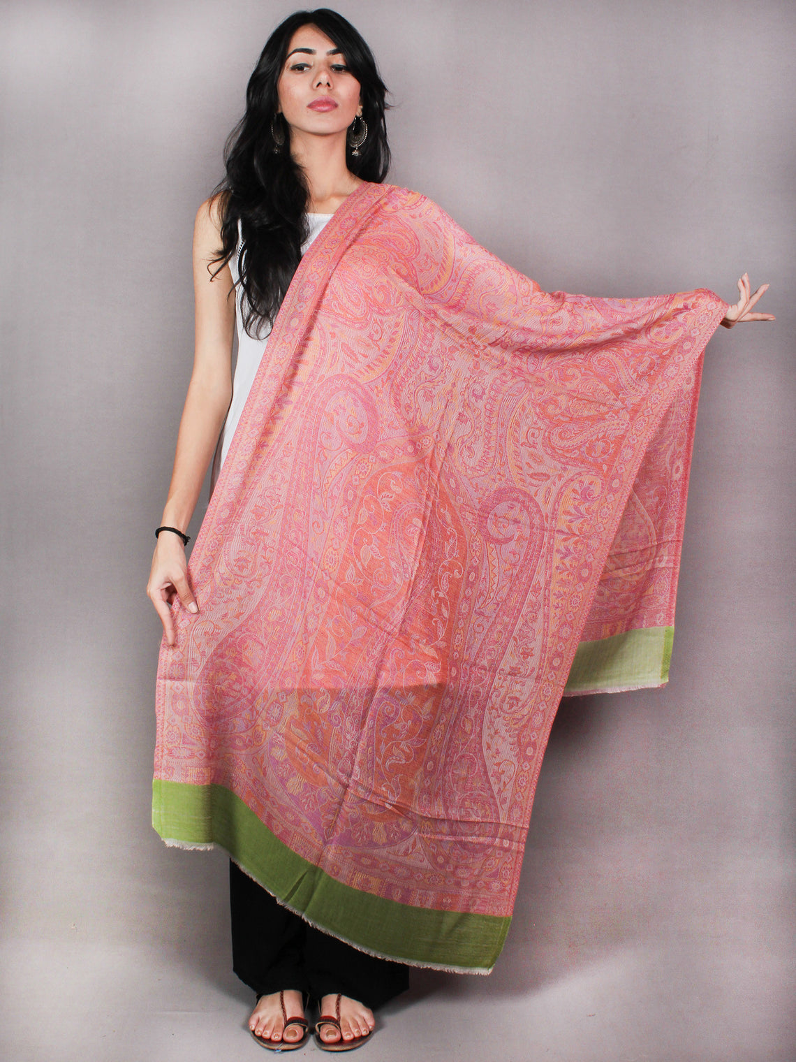 Green Multi Colour Pure Wool Jamawar Cashmere Stole from Kashmir - S6317116