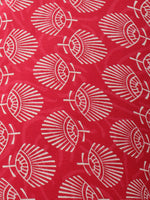 Red Persian Green Hand Block Printed Cotton Cambric Fabric Per Meter - F0916471