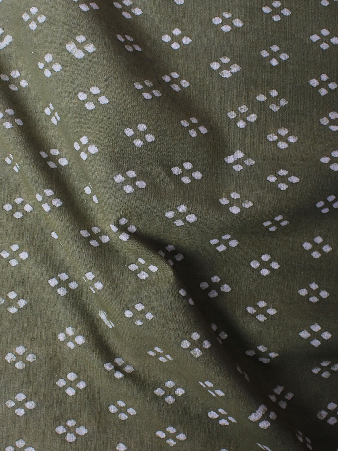 Olive Green White Hand Block Printed Cotton Cambric Fabric Per Meter - F0916445