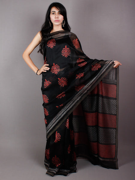 Black Red Grey Hand Block Printed in Natural Vegetable Colors Chanderi Saree With Geecha Border - S03170477