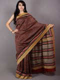 Black Red Beige Hand Block Printed in Natural Vegetable Colors Chanderi Saree With Geecha Border - S03170478
