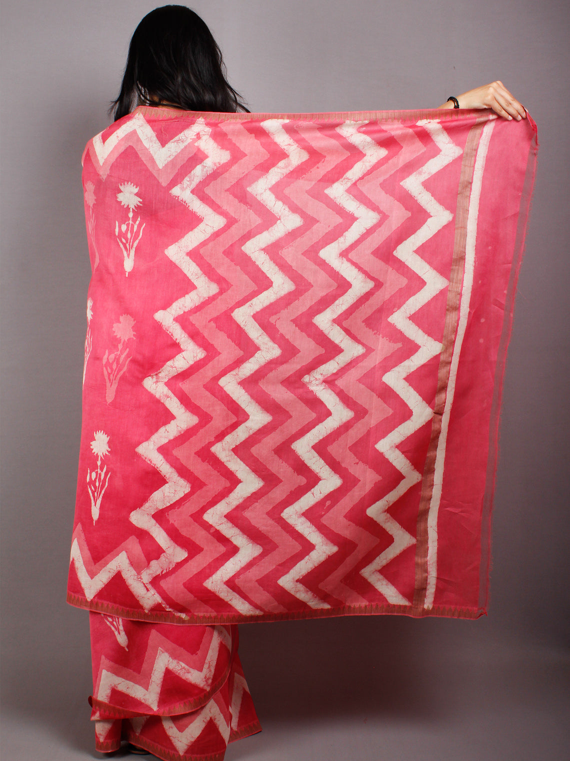 Pink Beige Hand Block Printed in Natural Vegetable Colors Chanderi Saree With Geecha Border - S03170483
