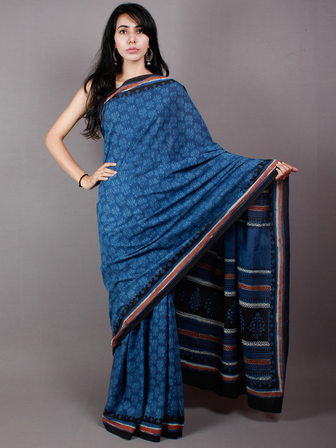 True Blue & Baby Blue Cotton Hand Block Printed Saree in Natural Colors With Red Black Border - S03170484