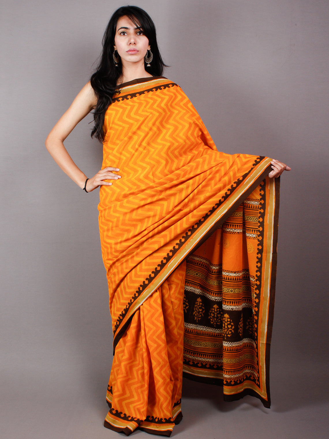 Orange Yellow Cotton Hand Block Printed Saree in Natural Colors With Brown Border - S03170486