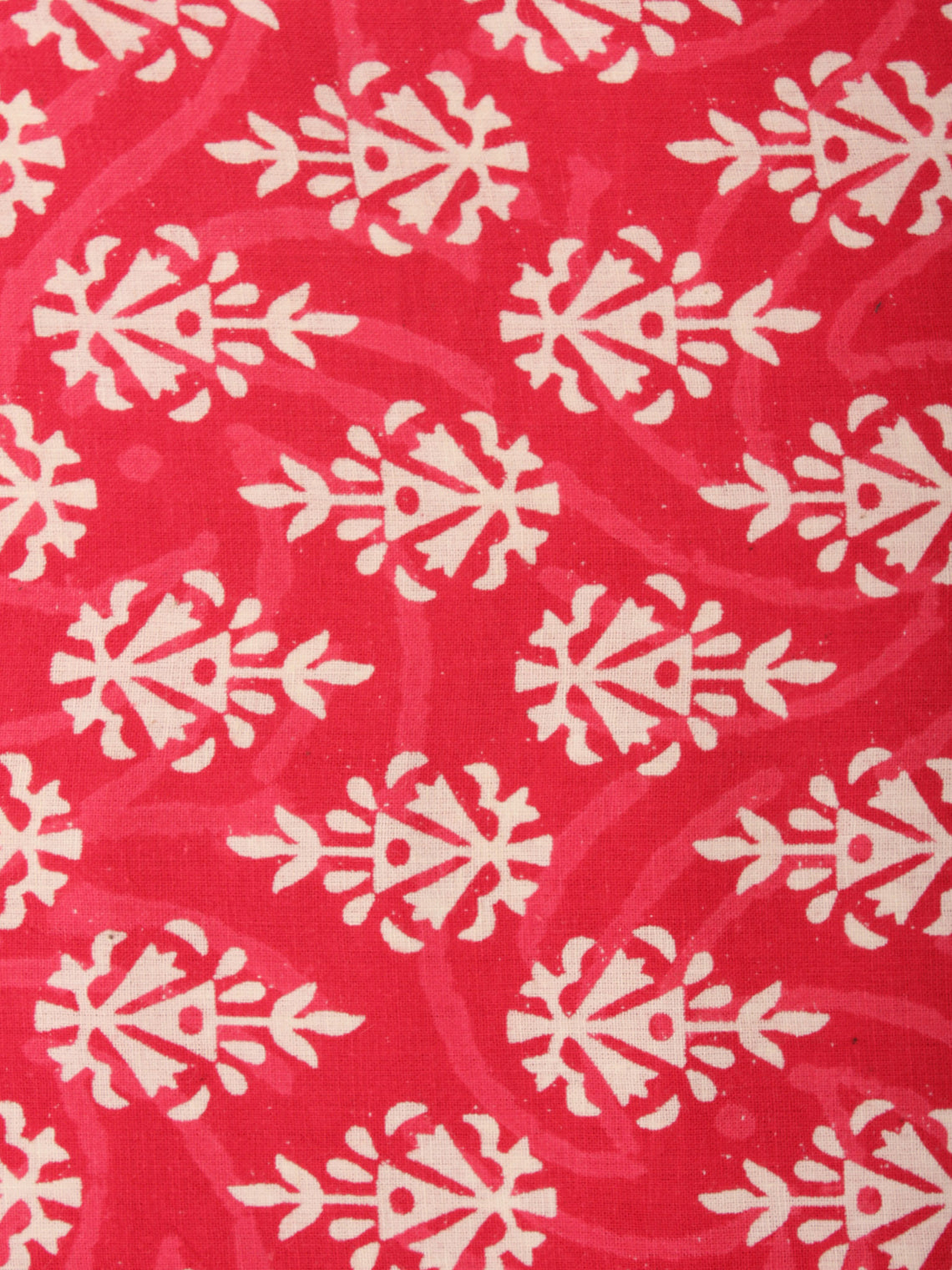 Red Ivory Hand Block Printed Cotton Cambric Fabric Per Meter - F0916450