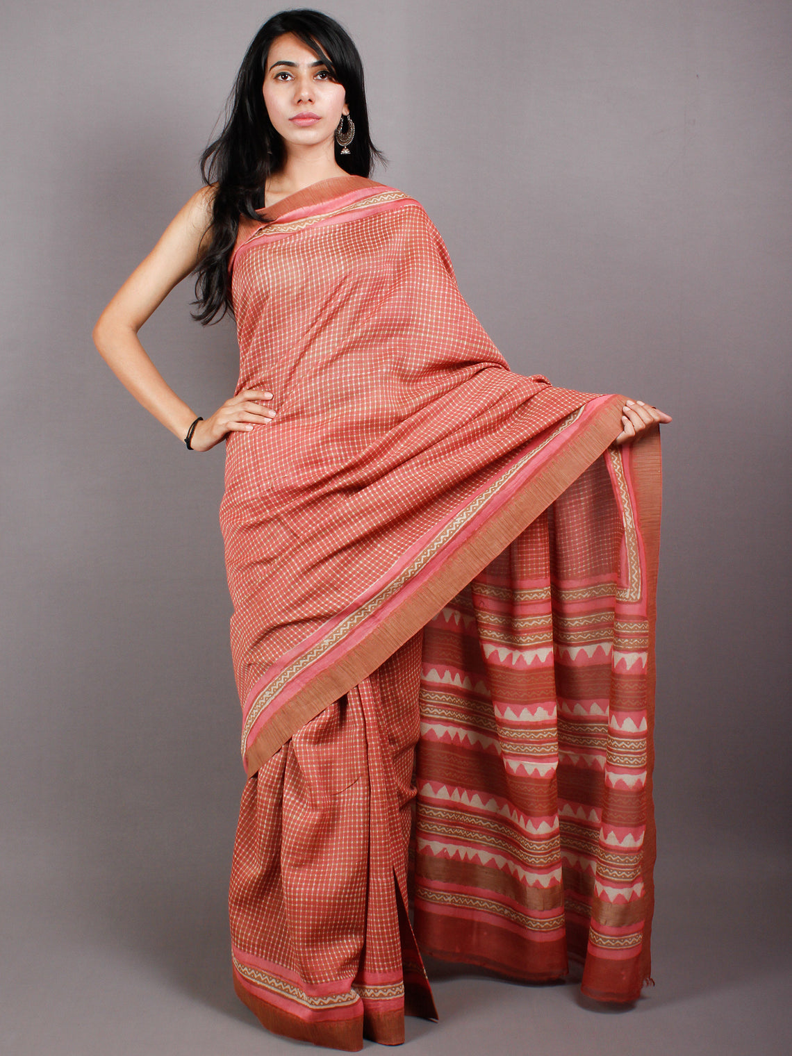 Pastel Peach Beige Hand Block Printed in Natural Vegetable Colors Chanderi Saree With Geecha Border - S03170494