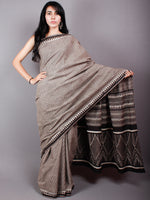 Brown Black Beige Cotton Hand Block Printed Saree in Natural Colors - S03170493