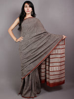 Black Beige Red Cotton Hand Block Printed Saree in Natural Colors - S03170496