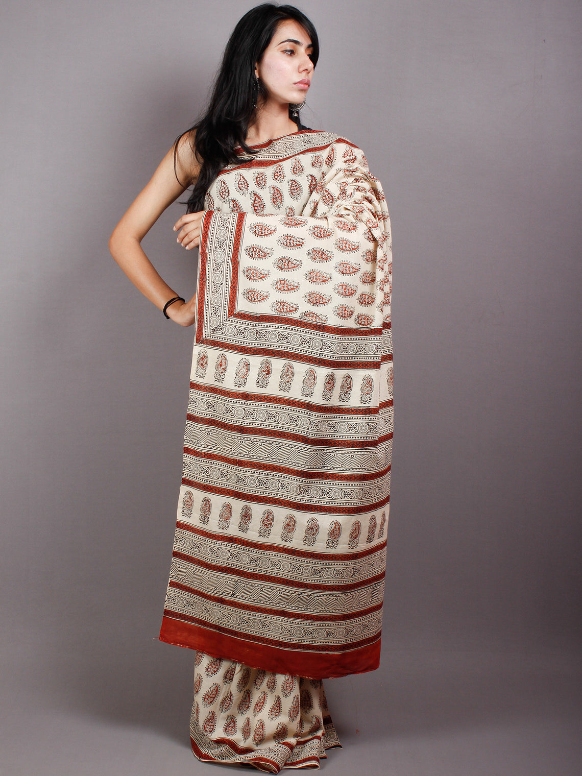 Beige Red Black Cotton Hand Block Printed Saree in Natural Colors - S03170497