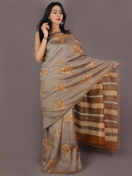 Beige Brown Bagru Hand Block Printed Chanderi Saree With Geecha Border - S03170305