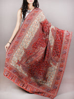 Beige Maroon Red Pure Wool Kani Jamawar Cashmere Shawl From Kashmir - S200104