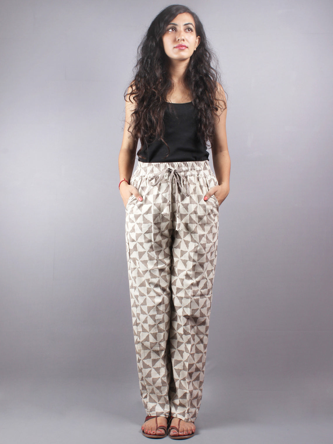 Beige Hand Block Printed Elasticated Waist Trousers- T0317005