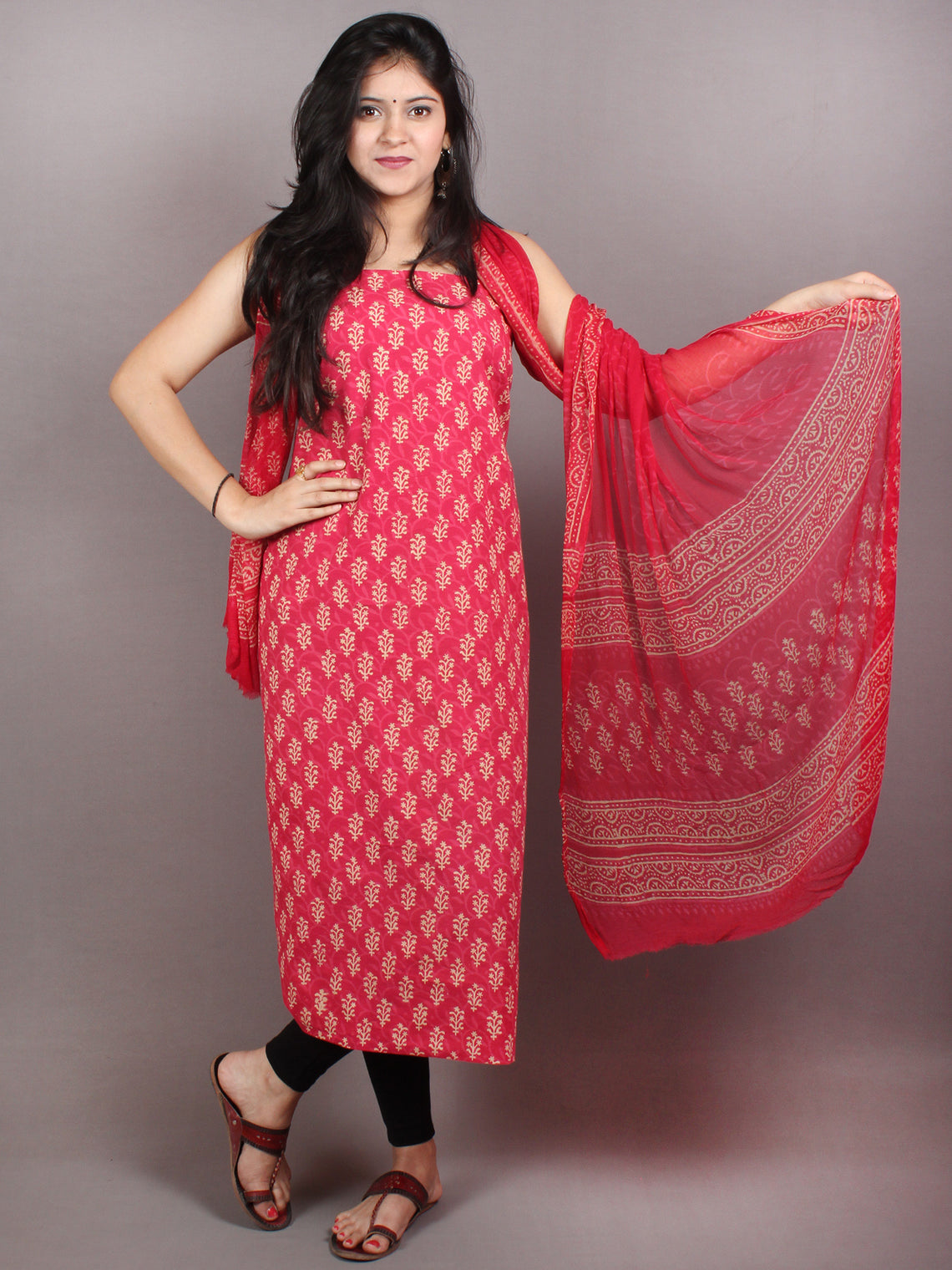Red White Hand Block Printed Cotton Suit-Salwar Fabric With Chiffon Dupatta - S1628045