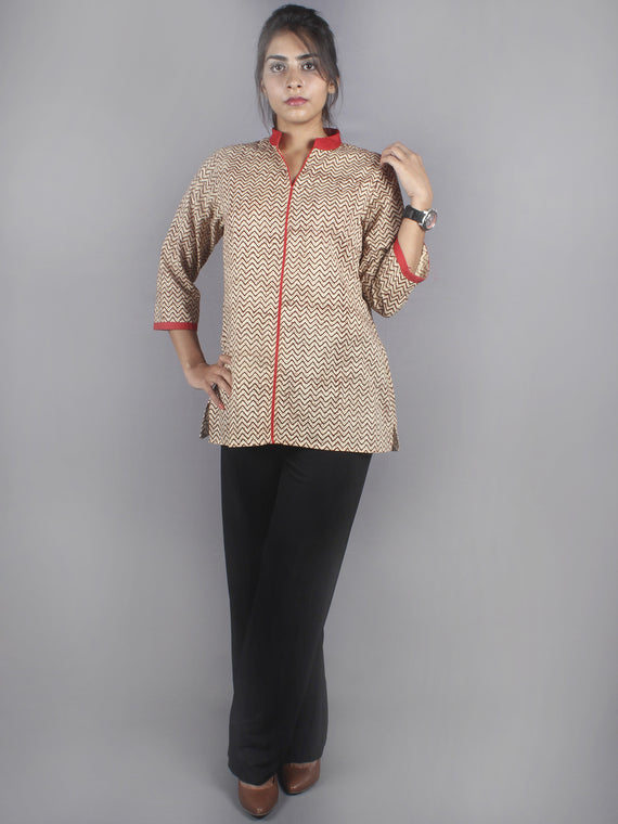 Beige Red Hand Block Printed Shirt- S3517005
