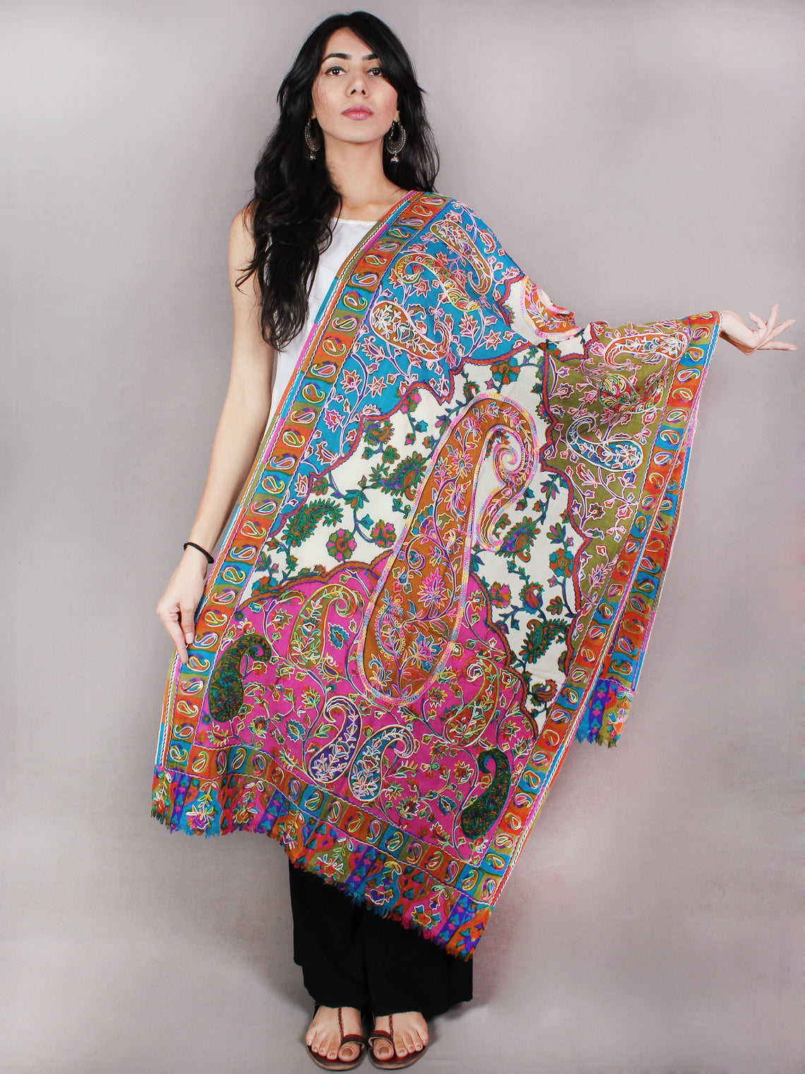 Ivory Multi Color Aari Embroidery Pure Wool Cashmere Stole from Kashmir - S6317077