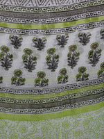 Ivory Grey Green Hand Block Printed Cotton Suit-Salwar Fabric With Chiffon Dupatta - S16281234