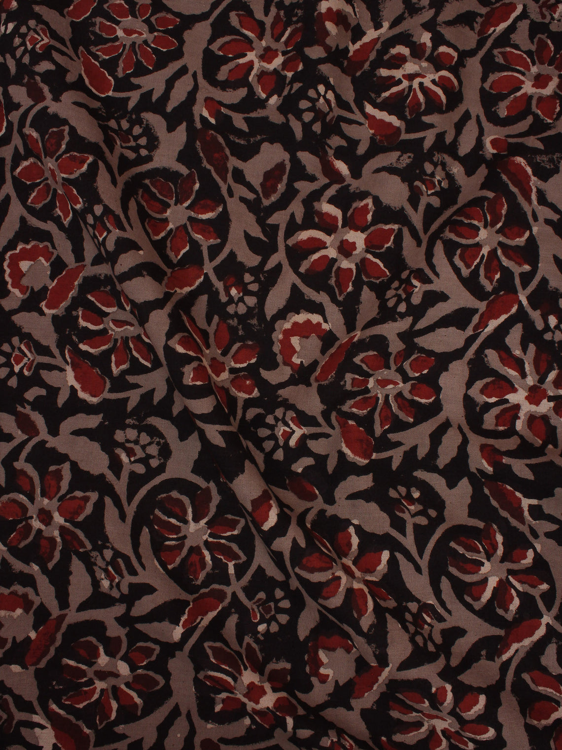 Black Brown Maroon Hand Block Printed Cotton Cambric Fabric Per Meter - F0916443
