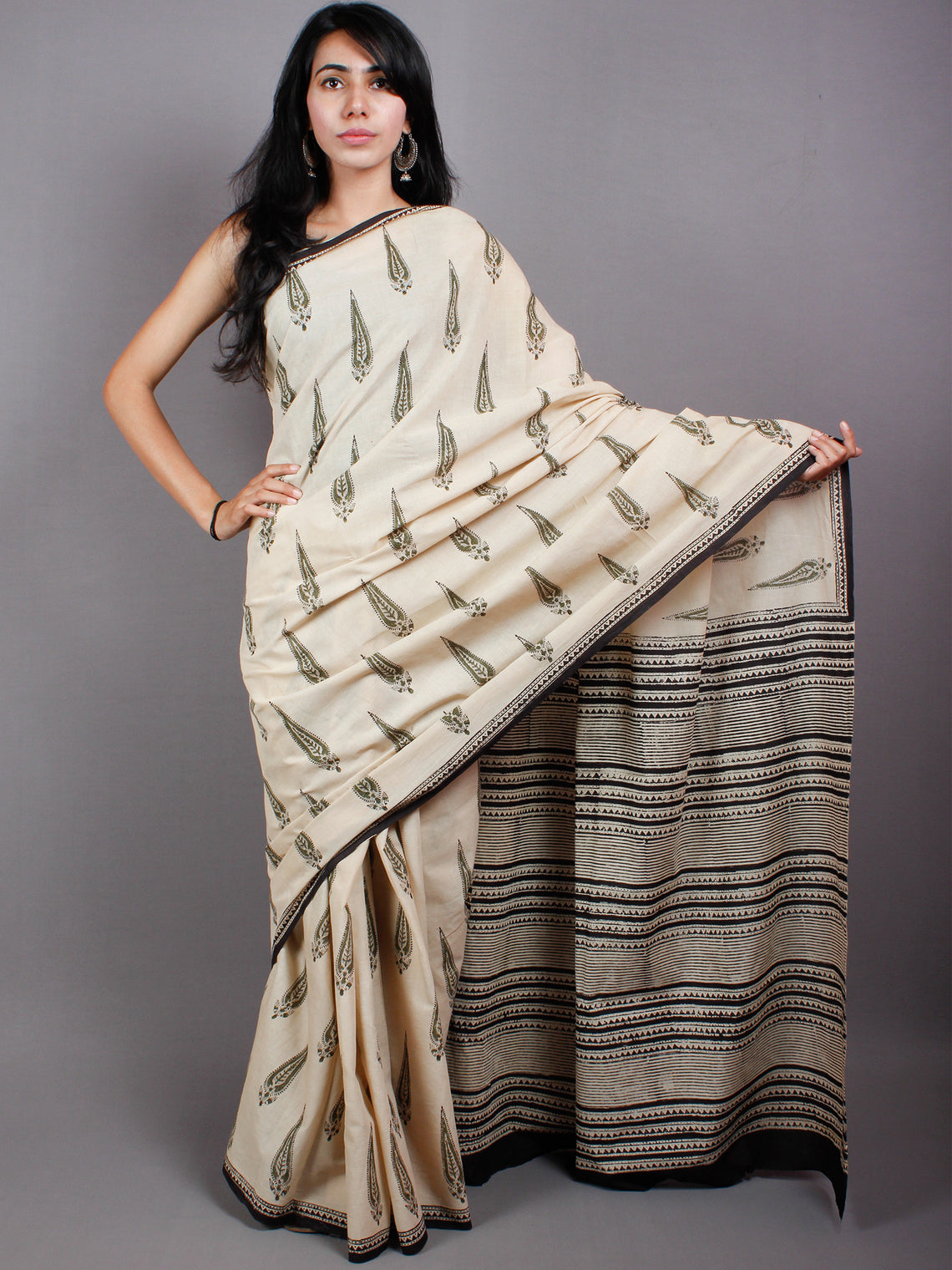 Beige Green Black Cotton Hand Block Printed Saree in Natural Colors - S03170500