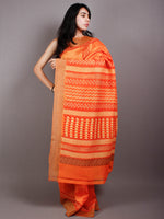 Orange Red Yellow Hand Block Printed in Natural Vegetable Colors Chanderi Saree With Geecha Border - S03170501