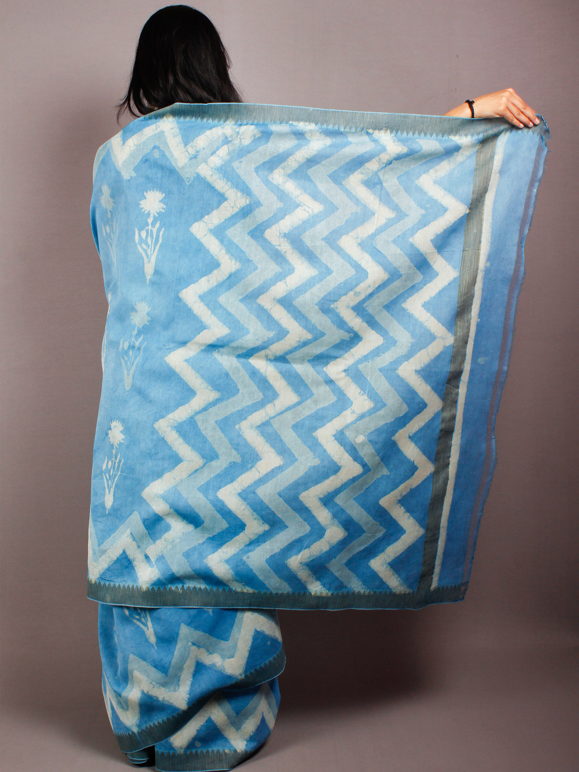 Sky Blue Ivory Hand Block Printed in Natural Vegetable Colors Chanderi Saree With Geecha Border - S03170503