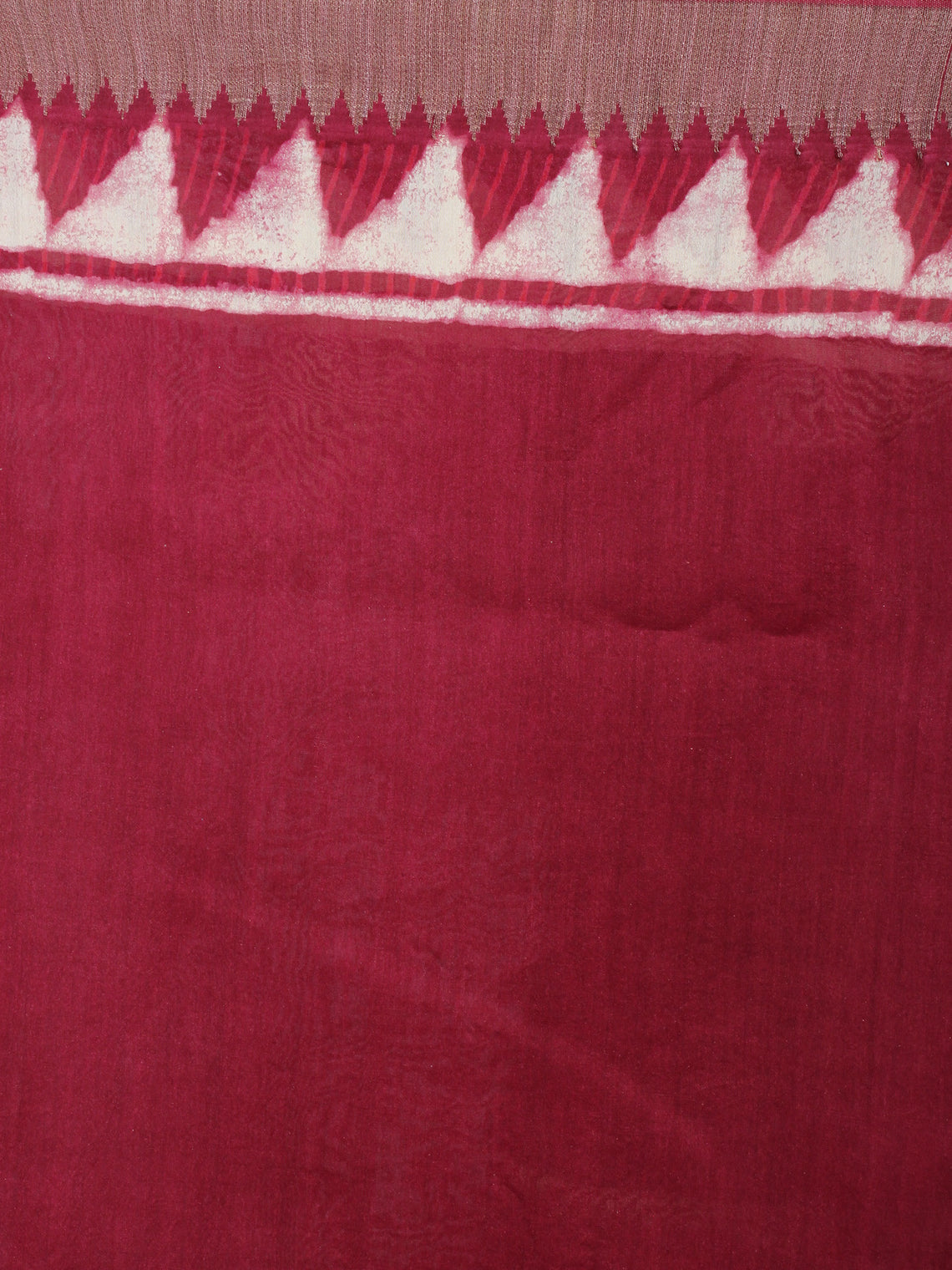Cherry Beige Hand Block Printed in Natural Vegetable Colors Chanderi Saree With Geecha Border - S03170504