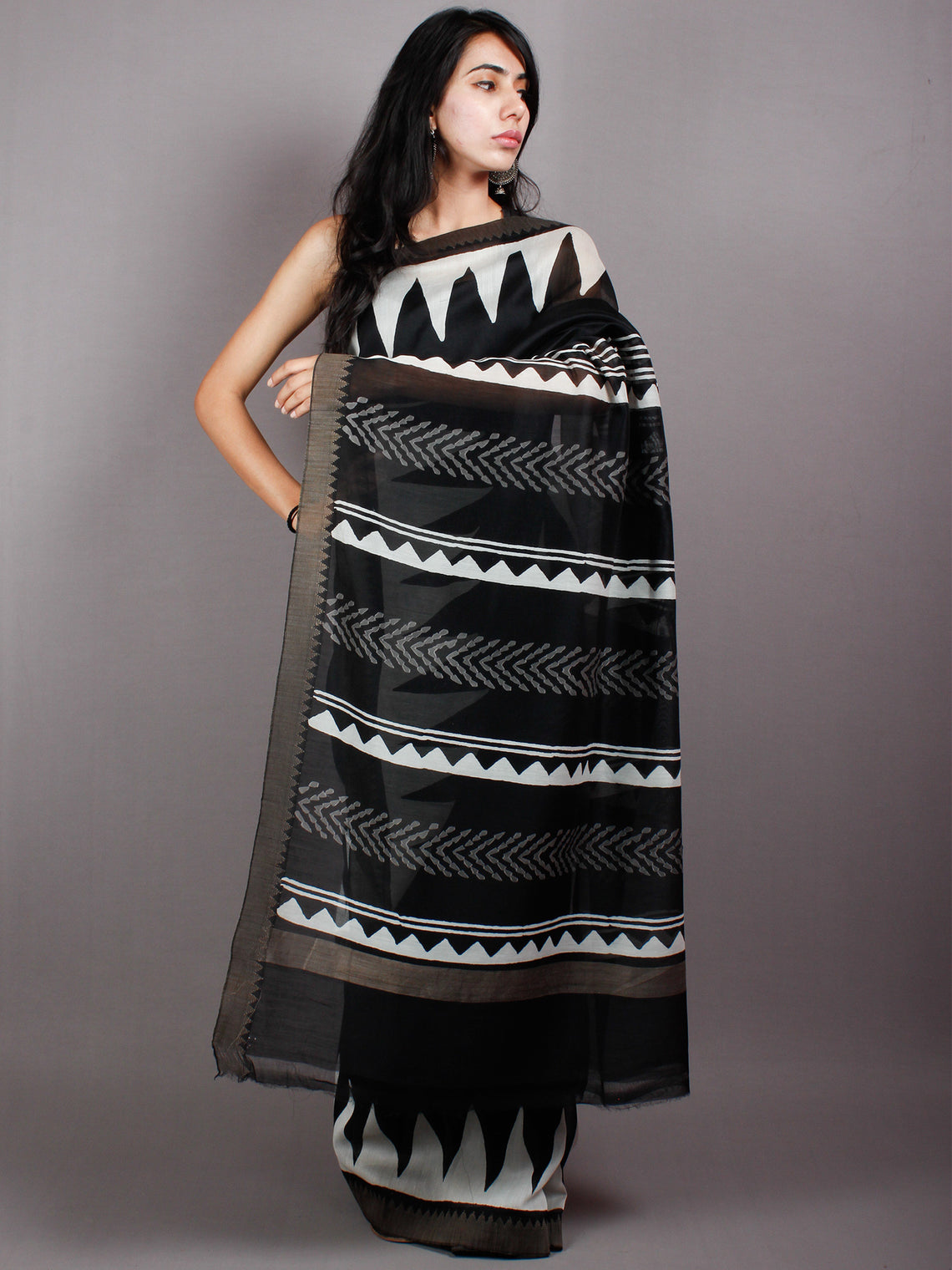 Black White Hand Block Printed in Natural Vegetable Colors Chanderi Saree With Geecha Border - S03170506