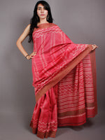 Pastel Pink Beige Hand Block Printed in Natural Vegetable Colors Chanderi Saree With Geecha Border - S03170507